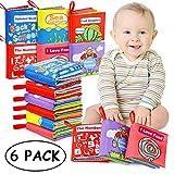 Livres d'éveil, Bébé Livres en Tissu Jouet Educatif Cadeau Anniversaire Fête Nouvel An pour Bambin Enfant de 0 à 12 Mois lot de 6