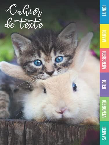 Cahier de texte : Cahier de texte lapin chat | primaire | cahier de texte garçon et fille | cp, ce1, ce2