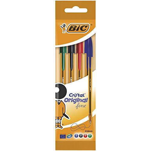 BIC Cristal Original Stylos-Bille Pointe Fine (0,8 mm) - Couleurs Assorties, Pochette de 4