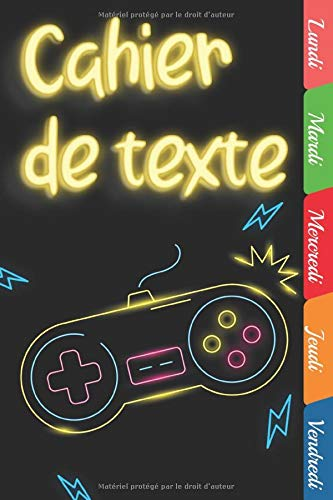 Cahier de texte : Idéal pour noter les devoirs scolaires, avec des onglets hebdomadaires et grands carreaux pour les textes   Thème gamer & jeux vidéo