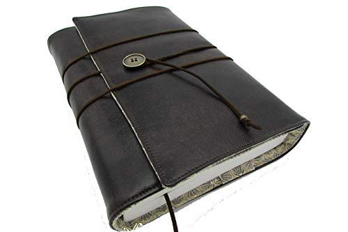 Protège livre fait main, couverture livre format poche/littéraire roman couvre livre en tissu simili cuir brun foncé, cadeaux, voyage, noël, anniversaire