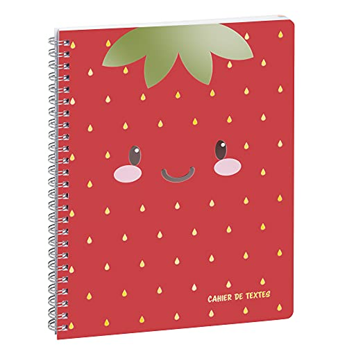 Exacompta - 9901015E - Cahier de textes - 17 cm x 22 cm - Tutti Frutti fraise - couverture pélliculée avec spirale métal et onglets hebdomadaires détachables