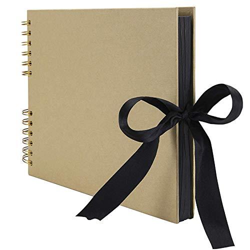RECUTMS Album Photo Scrapbooking,DIY Albums 80 Pages Fait Main Bricolage Papier d'artisanat Livre de Mémoire,Livre d'or de Mariage,Anniversaire de Mariage,Cadeau de Noël (Jaune)