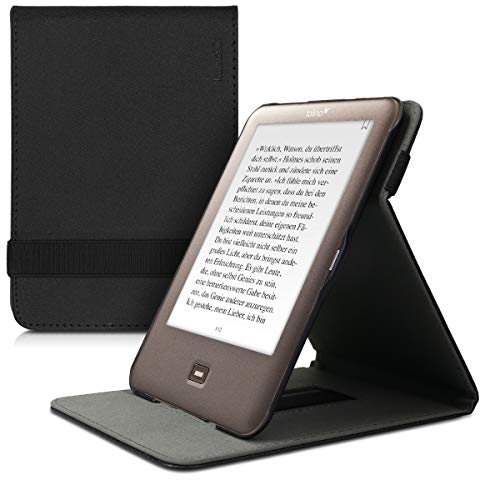 kwmobile Étui pour liseuse électronique Compatible avec Tolino Shine - Étui Housse Rabat liseuse Simili Cuir Noir