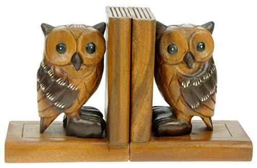 Serre-Livres hiboux x 2: Ornement Animalier en Bois sculpté à la Main: Cadeau de Noël de qualité pour Hommes et Femmes! Femmes: Traditionnel Fait à la Main à partir de Bois: Décoration de Maison