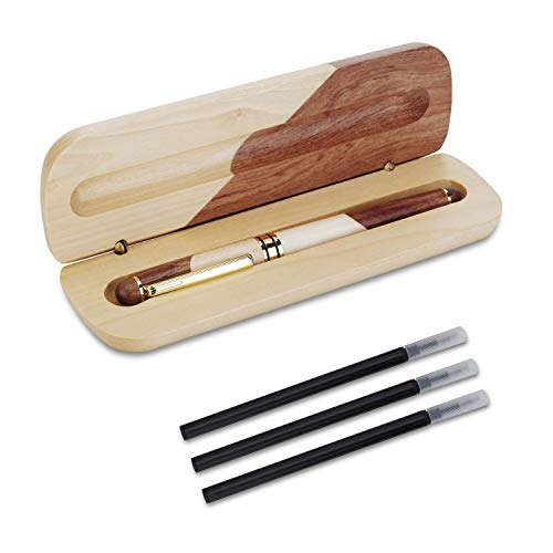 OMZGXGOD - Stylo à bille en bois artisanal naturel, luxe, stylo cadeau personnalisé, recharge de 3 encres noires supplémentaires, stylo cadeau élégant et exquis
