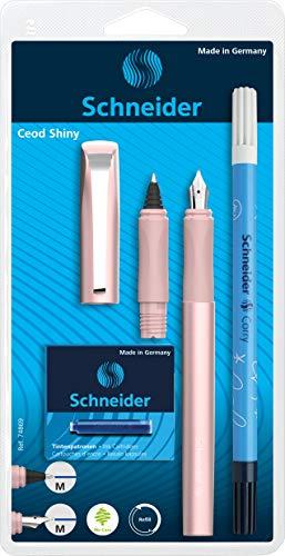 Schneider Ceod Shiny Set d'écriture avec stylo-plume, stylo roller et effaceur d'encre pour droitiers et gauchers Plume M + cartouches d'encre Bleu roi
