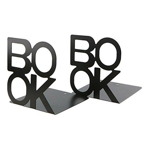 Prettyui Serre-livres inscription Book - En métal - Motif lettres - Simple - Organisateur de livres pour bureau, espace de travail, décoration de maison, cadeau - Noir