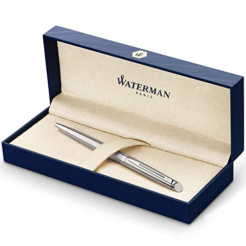 Waterman Hémisphère stylo bille | acier inoxydable avec attributs chromés | pointe moyenne | encre bleue | coffret cadeau