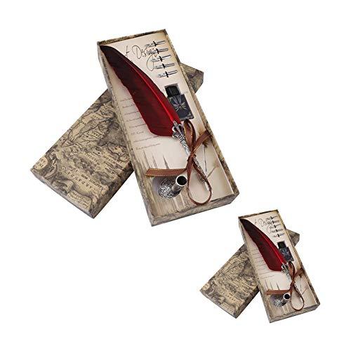 0.5mm Stylo Plumes Trempé à la Main Antique en Cuivre Stylo de Calligraphie avec 5 Plumes de Rechange pour Écriture ou Cadeau, Lot de 2(rouge)