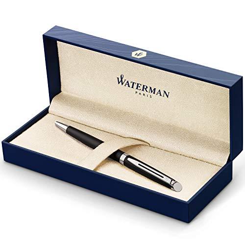 Waterman Hémisphère stylo bille luxe | noir mat avec attributs chromés | pointe moyenne | encre bleue | coffret cadeau