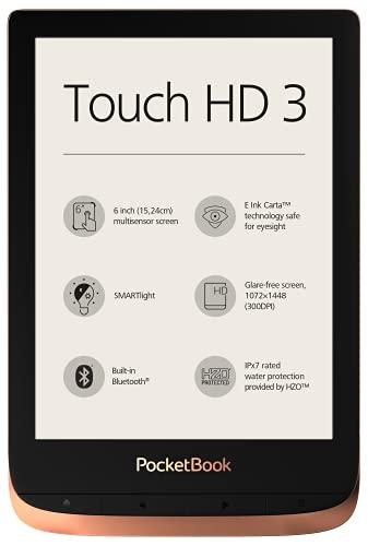 PocketBook Touch HD 3 Liseuse avec 16 Go de mémoire, écran à Encre électronique Carta de 15,24 cm (6'), SMARTlight, Wi-FI et Bluetooth Cuivré cuivre