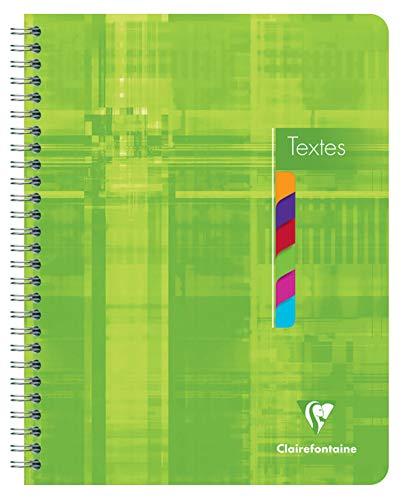 Clairefontaine 8756C - Un cahier de texte à spirale 144 pages 17x22 cm 90g avec touches de couleurs détachables, couverture carte pelliculée couleur aléatoire
