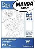 Clairefontaine 94037C - Un bloc encollé Manga Storyboard 100 feuilles avec grille simple 21x29,7 cm 55g
