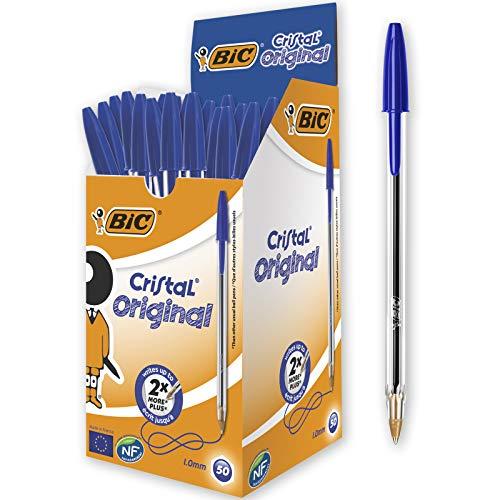 BIC Cristal Original Ecriture Stylos-Bille Pointe Moyenne (1,0 mm) - Design Fonctionnel - Couleur Bleu, Boîte de 50