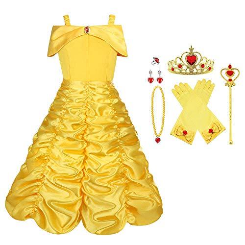 Vicloon Elsa Princesse Robe/Deguisement de La Belle et La Bête/Cape à Capuche Costume pour Cosplay Mariage Carnaval Fête d'anniversaire,Jaune,150cm