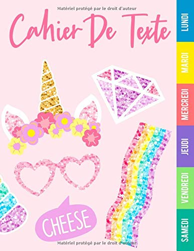 Cahier de texte fille: Cahier de texte girly licorne | cahier de texte | cp - ce1 - c2 - cm1 - cm2
