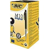 BIC M10 Original Stylos-Bille Rétractables Pointe Moyenne (1,0 mm) - Noir, Boîte de 50