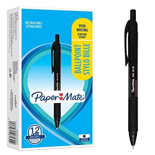 PaperMate Stylos à bille Alfa rétractable | Pointe moyenne (1,0mm) | Encre noire | Lot de12