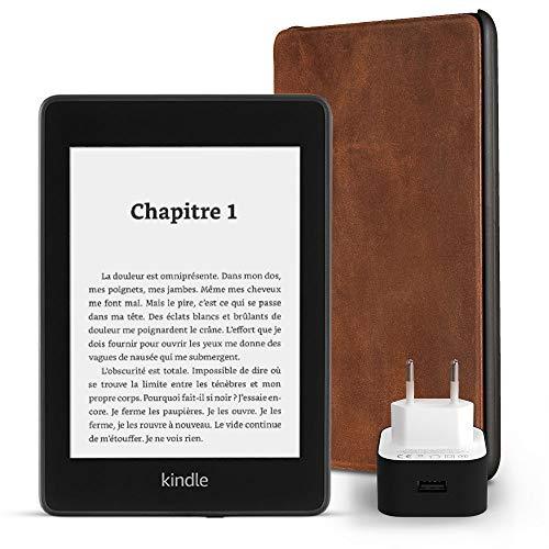 Pack essentiel comprenant la liseuse Kindle Paperwhite, 8 Go, avec offres spéciales et Wi-Fi, un étui Amazon en cuir premium et un chargeur Amazon Powerfast