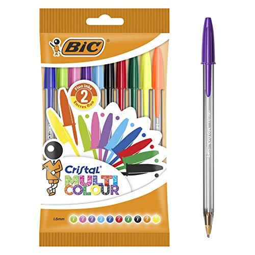 BIC Ecriture Cristal Multicolour Stylos-Bille Pointe Large (1,6 mm) - Couleurs Assorties, Pochette de 10