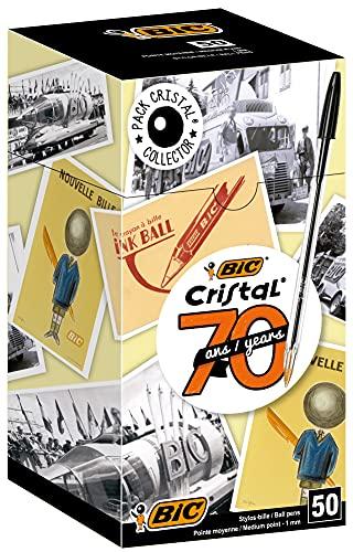 BIC Cristal Original Ecriture Stylos-Bille Pointe Moyenne (1,0 mm) - Design Fonctionnel - Couleur Noire, Boîte de 50