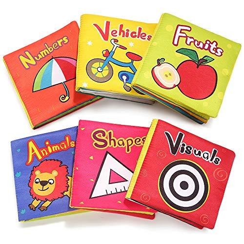 TOP BRIGHT Livres pour Bébé à Partir de 6 Mois – 6 Livres Souples en Tissu avec Bruit de Papier pour bébés – Jouet Doux et imperméable avec Coutures précises et cachées – Sûr et résistant