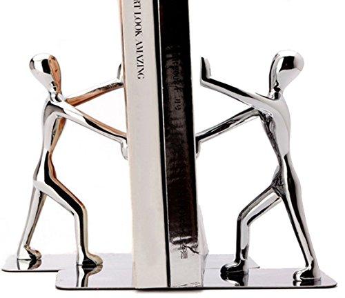 Tebery Serre-livres en Acier Inoxydable, Pour Supporter Des Livres Grands et Lourds Ou Pour Décoration de La Bibliothèque Et Bureau à Domicile, Argent