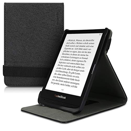 kwmobile Étui pour liseuse électronique Compatible avec Pocketbook Touch Lux 4/Lux 5/Touch HD 3/Color (2020) - Étui Housse Rabat liseuse Simili Cuir Noir