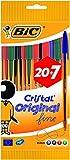 BIC Cristal Original Stylos-Bille Pointe Fine (0,8 mm) - Couleurs Assorties, Pochette de 20+7