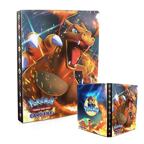 Classeur pour Pokemon,Porte Carte Pokemon, Livre Carte Pokemon, Pokemon Cartes Album Pokémon Commerce Cartes GX EX Albums de Cartes, 30 Pages Peut Contenir Jusqu'à 240 Cartes (Charizard)
