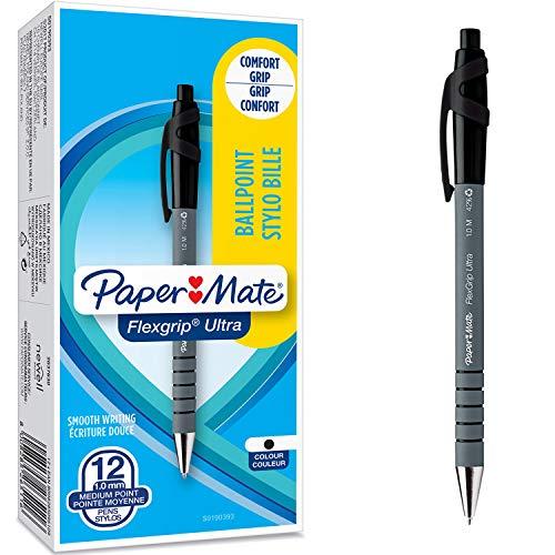 Paper Mate FlexGrip Ultra stylo bille | pointe moyenne (1,0 mm) rétractable | Encre noire | Lot de 12