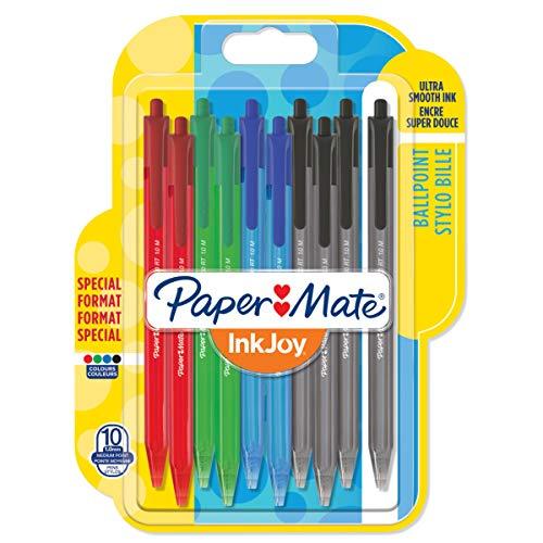 Paper Mate InkJoy 100RT Lot de 10 Stylos bille rétractable pointe moyenne Couleurs Standard