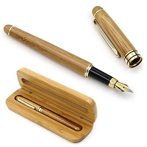 NUOLUX Moyen plume stylo plume bambou naturel écrit Pen avec convertisseur et étui (Red emballé)