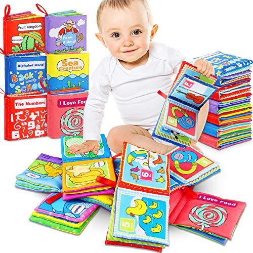 Livres d'éveil, Livres de jouets de bébé Le Livre, Livre de Bain Lot de 6, Book Baby, Educatif en Tissu Jouets pour Enfants, Soft Book Exercice de Intelligence Jouet Educatif Sûr Mordable, 6 Paquets