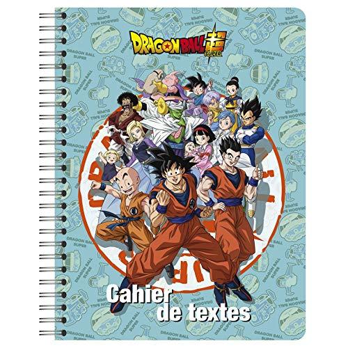 Clairefontaine 812799C - Un cahier de textes à spirale Dragon Ball Super 152 pages 17x22cm 90g grands carreaux, couverture visuel aléatoire